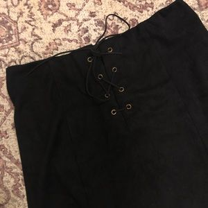 Forever 21 Suede Lace-up Skirt